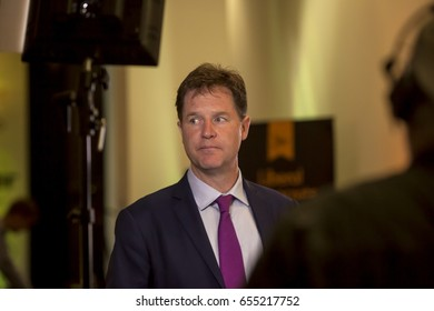 London, United Kingdom - June 6, 2017: Nick Clegg, Senior Liberal Democrat. Nick Clegg spoke in London in front of journalists and the public about the consequences of leaving the EU.