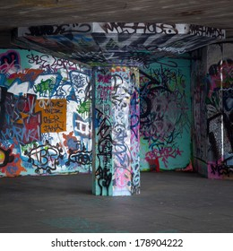London, United Kingdom - June 7, 2009: South Bank SkatePark is the epicentre of UK skateboarding and is part of the cultural fabric of London. This much-loved community space