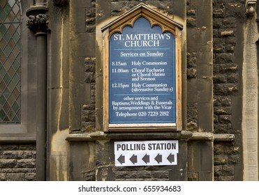 London, United Kingdom - June 8, 2017: Election Day in Britain. The electors in Britain are assigned to polling stations to cast their votes. These stations are sign posted in the neighbourhood.