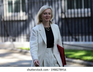 London, United Kingdom - June 9 2021: UK Secretary of State for International Trade Liz Truss arrives at Downing Street.