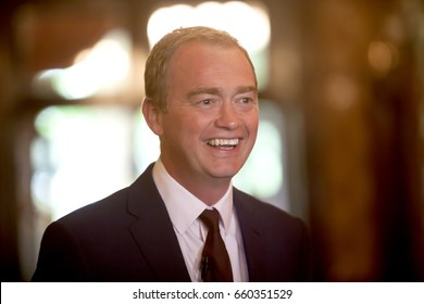 London, United Kingdom - June 9, 2017: Tim Farron, Leader of the Liberal Democrats. Tim Farron gave a speech after the results of the election were announced.