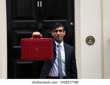London, United Kingdom - March 03 2021: Chancellor of the Exchequer Rishi Sunak leaves 11 Downing Street with the red dispatch box ahead of revealing the budget in the House of Commons.