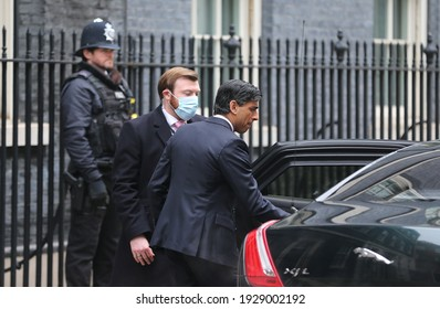 London, United Kingdom - March 03 2021: Chancellor of the Exchequer Rishi Sunak leaves 11 Downing Street ahead of revealing the budget in the House of Commons.
