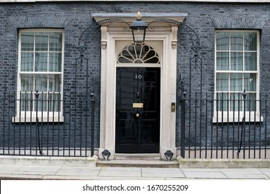 London, United Kingdom- March 11, 2020: The door of the British prime Minister official residence at 10 Downing street in London, UK.