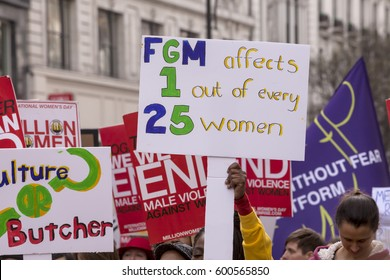 London, United Kingdom - March 11, 2017: Million Women Rising. A Million Women Rising is a march by only women to protest the violence against women around the world.
