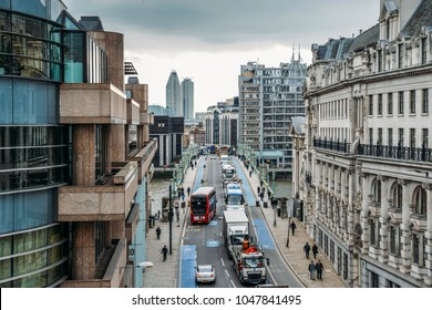 London, United Kingdom- March 13, 2018: Busy traffic on Southwark Bridge in the City of London, England, UK