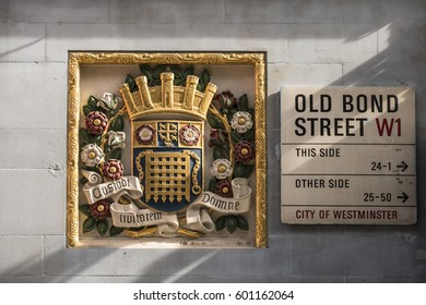 LONDON, UNITED KINGDOM - MARCH 13, 2017:  Street sign for Old Bond Street with ornate carving.