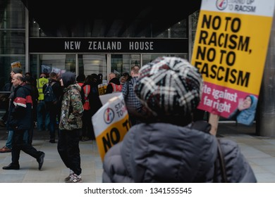 London / United Kingdom - March 16 2019:   Marchers of anti-racism rally stop by the New Zealand High Commission to pay their respects to the victims of the Christchurch mosque  attack
