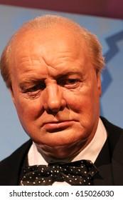 London, United Kingdom - March 17, 2017: Sir Winston Churchill wax figure portrait at Madame Tussauds London