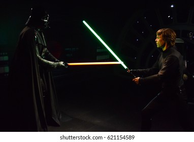 London, United Kingdom - March 17, 2017: Darth Vader and Luke Skywalker wax figure at Madame Tussauds London