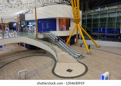 London / United Kingdom - March 18 2019: Photo from interior of famous Icon Outlet stores mall inside O2 Arena