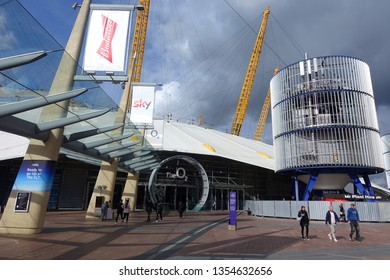 London / United Kingdom - March 18 2019: Photo from iconic O2 Arena in North Greenwich