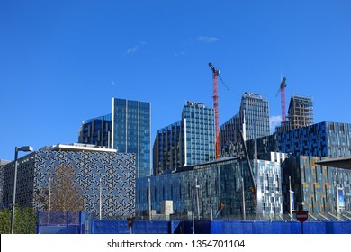 London / United Kingdom - March 18 2019: Photo from residential new area near iconic O2 Arena in North Greenwich