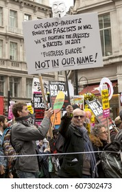 London, United Kingdom - March 18, 2017: Anti-Racist March in London. A march of activist against racism wound through the streets of the city of London, ending up in Parliament  Square.