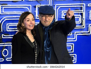 London, United Kingdom - March 19, 2018: Steven Spielberg and Kristie Macosko Krieger attend the European Premiere of 'Ready Player One' at Vue West End in London, England.