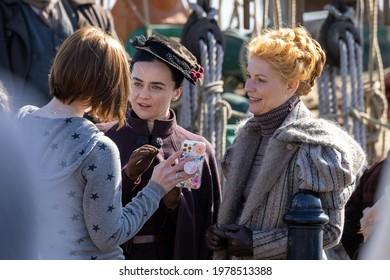 London, United Kingdom - March 2 2021: Claire Danes films scenes for Essex Serpent