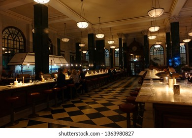 "London / United Kingdom - March 20 2019: Photo from iconic interior of classical hotel ""The Ned"" in the heart of Bank district"