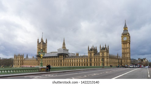 London / United Kingdom - March 20 2017: The Palace of Westminster, meeting place of the House of Commons and the House of Lords (Parliament). View over Westminster Bridge and river Thames.