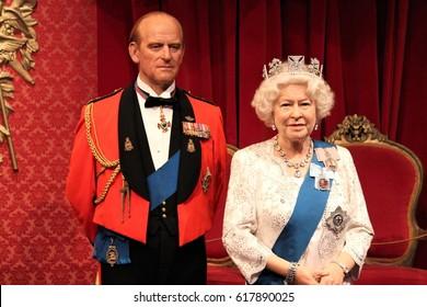London, United Kingdom - March 20, 2017: Queen Elizabeth ii 2 & Prince Philip portrait waxwork wax figure at museum, London - stock photo, stock photograph image picture
