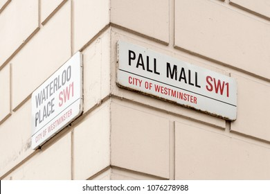 London, United Kingdom - March 2018: Pall Mall street sign in Westminster