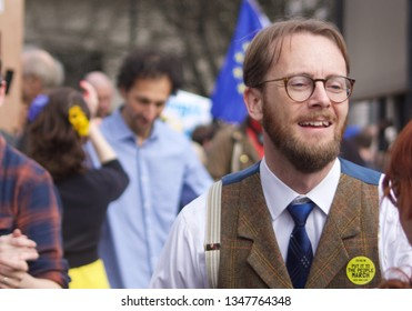 London, United Kingdom - March 23 2019: Young fogey in tweet waistcoat and braces at people's vote rally through London - Image