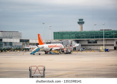 London, United Kingdom - March 23, 2019: EasyJet airplane in parking position at Stansted Airport, London, UK. EasyJet Airline is a British low cost airline.