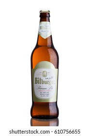 LONDON, UNITED KINGDOM - MARCH 23, 2017: Bottle of Bitburger beer on white background. Bitburger brewery is a large German brewery founded in 1817 by Johann Wallenborn.