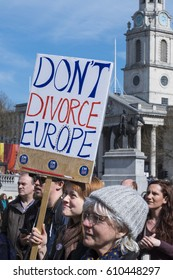 LONDON, UNITED KINGDOM - MARCH 25, 2017: Woman holding placard saying 'Don't Divorce Europe' in Trafalgar Square at Unite for Europe march.