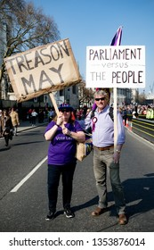 London, United Kingdom, March 29th 2019:- pro Brexit supporters outside the British Parliament accuse Prime Minister May of Treason due to the UK not leaving the EU on the 29th March 2019