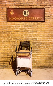 London, United Kingdom - March 3, 2016: This is the British Rail homage to Harry Potter at Kings Cross station in London England.