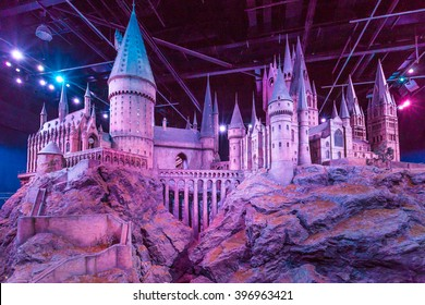 London, United Kingdom - March 3, 2016 - A scale model of Hogwarts at The Warner Bros. Studio Tour - Making of Harry Potter.Film based on the best selling series of books by the author J. K. Rowling.