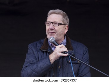 London, United Kingdom - March 4, 2017: Len McClusky Addresses Crowd at NHS Demonstration. Len McClusky, leader of the Unite Union, addresses a crowd of protestors.