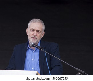 London, United Kingdom - March 4, 2017: Jeremy Corbyn Addresses the NHS Rally. Jeremy Corbyn addressed a crowd of people demonstrating against cuts to the British Health System