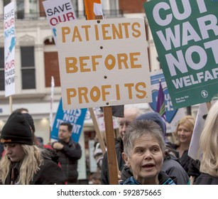 London, United Kingdom - March 4, 2017: March 4th March for the NHS. A march was held today by ordinary people who are very angry and concerned about cuts to the National Health Service.