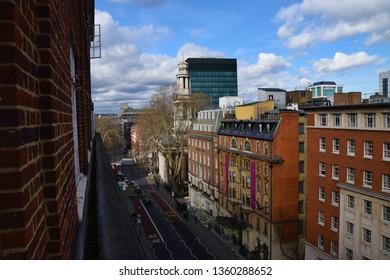 London, London / United Kingdom - March 5 2019: Bloomsbury street view towards Euston Station