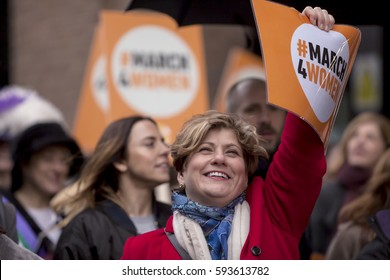 London, United Kingdom - March 5, 2017: International Women's Day March. A march for women was held from London Town Hall across the Thames to the Tower of London.
