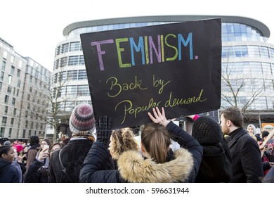 London, United Kingdom - March 5, 2017: International Women's Day March. A march was held for women from London Town Hall across the Thames to the Tower of London.