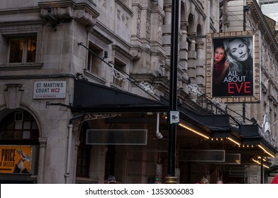 London, United Kingdom - March 6, 2019: All About Eve billboard , the play at the Noel Coward Theatre