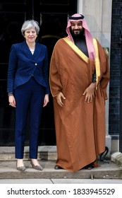 London, United Kingdom - March 7, 2018: British Prime Minister Theresa May greets Saudi Crown Prince Mohammed bin Salman on the steps of number 10 Downing Street on March 7, 2018 in London, England.