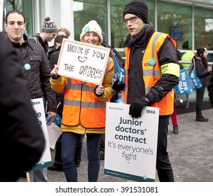 London, United Kingdom - March 9, 2016: The third junior doctors' strike this year has occurred as there seems to be no compromise between the government and the BMA over new working conditions.