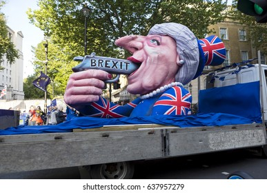 London, United Kingdom - May 10, 2017: The No10 Vigil -Stop Brexit. A Vigil has been held outside of Downing Street for many months now. On this Wednesday a Teresa May float was driven by Downing  St.
