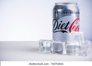 London, United Kingdom - May 11, 2017. Can of Diet Coke and ice cubes. Diet Coke is sweatened with aspartame instead of sugar.
