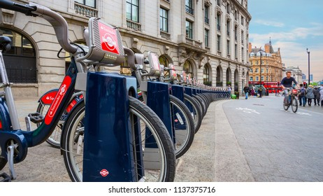 LONDON, UNITED KINGDOM - MAY 12 2018: Santander Cycles known as Boris Bikes, after Boris Johnson, who was the Mayor of London