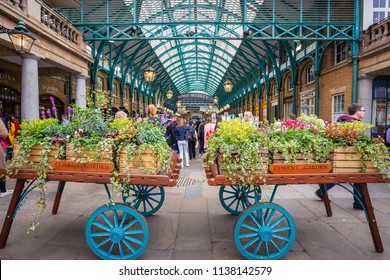 LONDON, UNITED KINGDOM - MAY 12 2018: Apple Market inside Covent Garden Market offering unique handmade crafts and goods for tourist throughout the week
