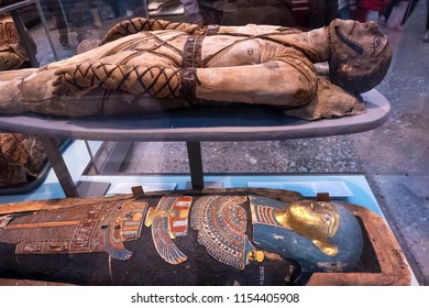 LONDON, UNITED KINGDOM - MAY 12 2018: Ancient Egypt Gallery at British Museum - a public institution dedicated to human history, art and culture it's one of the largest and most comprehensive museums