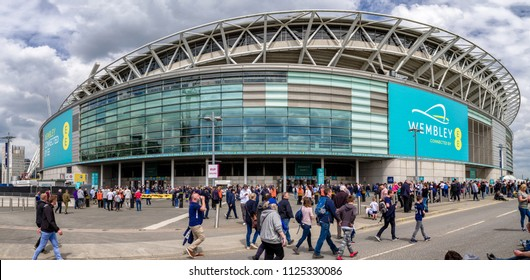 LONDON, UNITED KINGDOM - MAY 13: Fans in front of football stadium Wembley on May 13, 2018 in London