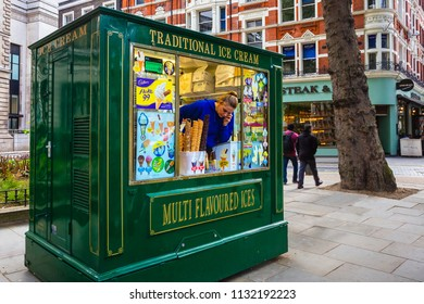 LONDON, UNITED KINGDOM - MAY 13 2018: A small icecream kiosk in London