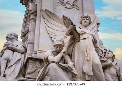 London, United Kingdom - May 13 2018: Victoria memorial in front of Buckingham Palace, designed and executed by the sculptor (Sir) Thomas Brock and unveiled on 16 May 1911