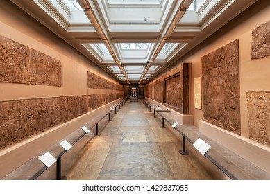 London, United Kingdom - May 13, 2019: Sumerian exhibit in British museum on May 13, 2019 in London, United Kingdom .