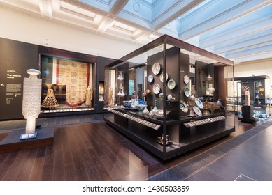 London, United Kingdom - May 13, 2019: The British Museum, London. Islamic art exhibition, archeological artifacts, visitors and tourists admiring the exhibition .